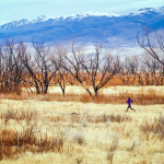 Trail running in open grasslands